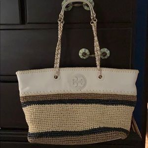 Tory Burch leather and raffia tote